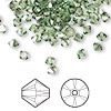 Bead, Swarovski crystal, Crystal Passions®, peridot satin, 4mm Xilion bicone (5328). Sold per pkg of 48.