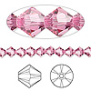 Bead, Swarovski crystal, Crystal Passions®, rose, 5mm Xilion bicone (5328). Sold per pkg of 24.