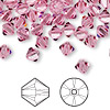 Bead, Swarovski crystal, Crystal Passions®, rose, 6mm Xilion bicone (5328). Sold per pkg of 144 (1 gross).