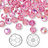 Bead, Swarovski crystal, Crystal Passions®, rose AB, 6mm faceted round (5000). Sold per pkg of 144 (1 gross).