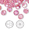 Bead, Swarovski crystal, Crystal Passions®, rose AB, 8mm faceted round (5000). Sold per pkg of 144 (1 gross).