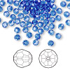 Bead, Swarovski crystal, Crystal Passions®, sapphire, 4mm faceted round (5000). Sold per pkg of 12.