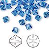 Bead, Swarovski crystal, Crystal Passions®, sapphire, 6mm Xilion bicone (5328). Sold per pkg of 24.