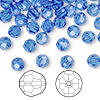Bead, Swarovski crystal, Crystal Passions®, sapphire, 6mm faceted round (5000). Sold per pkg of 144 (1 gross).