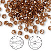 Bead, Swarovski crystal, Crystal Passions®, smoked topaz, 4mm faceted round (5000). Sold per pkg of 144 (1 gross).