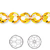Bead, Swarovski crystal, Crystal Passions®, sunflower, 10mm faceted round (5000). Sold per pkg of 24.