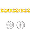 Bead, Swarovski crystal, Crystal Passions®, sunflower, 6mm faceted round (5000). Sold per pkg of 144 (1 gross).