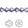 Bead, Swarovski crystal, Crystal Passions®, tanzanite, 8mm Xilion bicone (5328). Sold per pkg of 72.