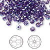 Bead, Swarovski crystal, Crystal Passions®, tanzanite AB, 4mm faceted round (5000). Sold per pkg of 144 (1 gross).