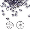Bead, Swarovski crystal, Crystal Passions®, tanzanite satin, 4mm Xilion bicone (5328). Sold per pkg of 144 (1 gross).