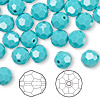 Bead, Swarovski crystal, Crystal Passions®, turquoise, 8mm faceted round (5000). Sold per pkg of 144 (1 gross).