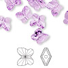 Bead, Swarovski crystal, Crystal Passions®, violet, 10x9mm faceted butterfly (5754). Sold per pkg of 48.