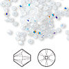 Bead, Swarovski crystal, Crystal Passions®, white opal AB, 3mm Xilion bicone (5328). Sold per pkg of 144 (1 gross).