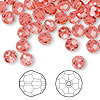 Bead, Swarovski crystal, Indian pink, 6mm faceted round (5000). Sold per pkg of 144 (1 gross).