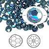Bead, Swarovski crystal, Montana AB, 6mm faceted round (5000). Sold per pkg of 144 (1 gross).