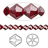 Bead, Swarovski crystal, Siam, 5mm Xilion bicone (5328). Sold per pkg of 144 (1 gross).