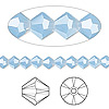 Bead, Swarovski crystal, air blue opal, 5mm faceted bicone (5301). Sold per pkg of 144 (1 gross).