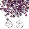 Bead, Swarovski crystal, amethyst AB, 4mm Xilion bicone (5328). Sold per pkg of 48.