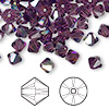 Bead, Swarovski crystal, amethyst AB, 6mm Xilion bicone (5328). Sold per pkg of 144 (1 gross).