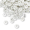 Bead, Swarovski crystal and plastic, Crystal Passions®, crystal clear and white, 5x2.5mm mini rondelle. Sold per pkg of 144 (1 gross).