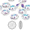 Bead, Swarovski crystal, crystal AB, 12x4mm faceted marguerite lochrose flower (3700). Sold per pkg of 144 (1 gross).