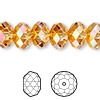 Bead, Swarovski crystal, crystal astral pink, 12x8mm faceted rondelle (5040). Sold per pkg of 144 (1 gross).