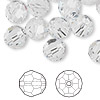 Bead, Swarovski crystal, crystal clear, 10mm faceted round (5000). Sold per pkg of 144 (1 gross).