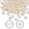 Bead, Swarovski crystal, crystal golden shadow, 4mm faceted round (5000). Sold per pkg of 144 (1 gross).