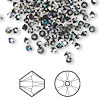 Bead, Swarovski crystal, crystal heliotrope, 3mm Xilion bicone (5328). Sold per pkg of 1,440 (10 gross).