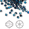 Bead, Swarovski crystal, crystal metallic blue 2X, 4mm Xilion bicone (5328). Sold per pkg of 1,440 (10 gross).