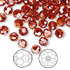 Bead, Swarovski crystal, crystal red magma, 6mm faceted round (5000). Sold per pkg of 144 (1gross).