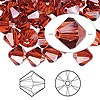 Bead, Swarovski crystal, crystal red magma, 8mm Xilion bicone (5328). Sold per pkg of 72.