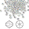 Bead, Swarovski crystal, crystal satin AB, 3mm Xilion bicone (5328). Sold per pkg of 144 (1 gross).