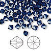 Bead, Swarovski crystal, dark indigo, 5mm faceted bicone (5301). Sold per pkg of 144 (1 gross).