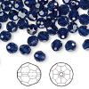 Bead, Swarovski crystal, dark indigo, 6mm faceted round (5000). Sold per pkg of 144 (1 gross).