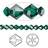 Bead, Swarovski crystal, emerald, 5mm Xilion bicone (5328). Sold per pkg of 144 (1 gross).