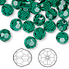 Bead, Swarovski crystal, emerald, 8mm faceted round (5000). Sold per pkg of 288 (2 gross).