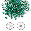 Bead, Swarovski crystal, emerald AB, 3mm Xilion bicone (5328). Sold per pkg of 48.