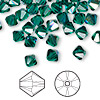 Bead, Swarovski crystal, emerald AB, 6mm Xilion bicone (5328). Sold per pkg of 144 (1 gross).