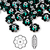 Bead, Swarovski crystal, emerald, foil back, 10x3.5mm faceted marguerite lochrose flower (3700). Sold per pkg of 144 (1 gross).