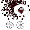 Bead, Swarovski crystal, garnet, 3mm Xilion bicone (5328). Sold per pkg of 1,440 (10 gross).