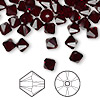 Bead, Swarovski crystal, garnet, 6mm Xilion bicone (5328). Sold per pkg of 360.