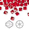Bead, Swarovski crystal, light Siam, 6mm Xilion bicone (5328). Sold per pkg of 24.