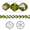 Bead, Swarovski crystal, olivine, 5mm Xilion bicone (5328). Sold per pkg of 144 (1 gross).