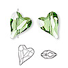 Bead, Swarovski crystal, peridot, 17x13mm diagonally drilled faceted wild heart (5743). Sold per pkg of 72.