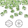 Bead, Swarovski crystal, peridot, 6mm Xilion bicone (5328). Sold per pkg of 144 (1 gross).