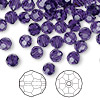 Bead, Swarovski crystal, purple velvet, 6mm faceted round (5000). Sold per pkg of 360.