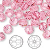 Bead, Swarovski crystal, rose, 8mm faceted round (5000). Sold per pkg of 288 (2 gross).