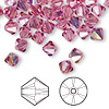 Bead, Swarovski crystal, rose AB, 6mm Xilion bicone (5328). Sold per pkg of 360.