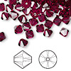 Bead, Swarovski crystal, ruby, 6mm Xilion bicone (5328). Sold per pkg of 24.